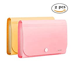 OffKits Expanding File Folder A6 According Folder Organizer Mini PP Wallet for Coupons,Receipt,Checks,Cards,Tax,Changes and Document,12 Pockets with Index Tabs And Snapper,7x4.5 Inches (Pink+Yellow)