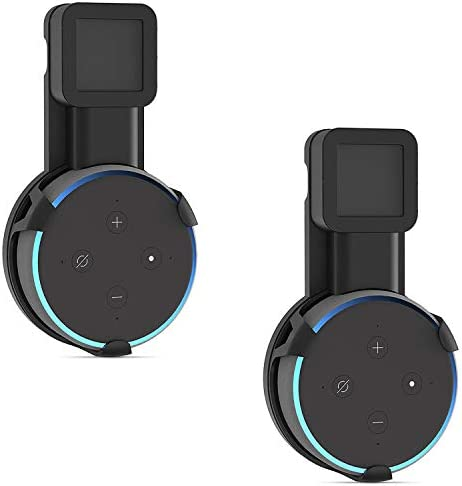 Outlet Wall Mount Stand for Echo Dot 3rd Gen Hanger Holder Case Bracket Space Saving Perfect Accessories Without Messy Wires or Screws (AMM002-2B), 2 Pack, Black