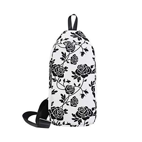 amp; Roses Small Women Bennigiry For Sling Men Shoulder Cross Chest Waterproof Backpack Bag Black Body xOOwq5fF