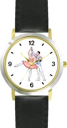 Ballerina and Ballet Dancer Couple No.3 - WATCHBUDDY DELUXE TWO-TONE THEME WATCH - Arabic Numbers - Black Leather Strap-Size-Large ( Men's Size or Jumbo Women's Size ) by WatchBuddy