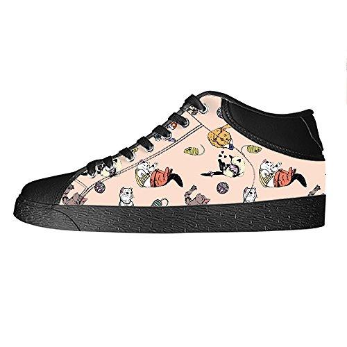 Custom Gatto del fumetto Mens Canvas shoes I lacci delle scarpe in Alto sopra le scarpe da ginnastica di scarpe scarpe di Tela.