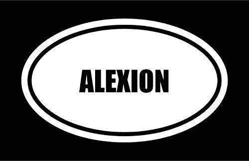 6  Die Cut White Vinyl Alexion Name Oval Euro Style Decal Sticker