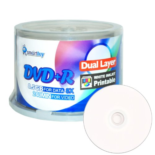 UPC 758418816071, Smartbuy 50-disc 8.5gb/240min 8x Dvd+r Dl Dual Layer Double Layer White Inkjet Hub Printable Blank Data Recordable Media Disc Spindle