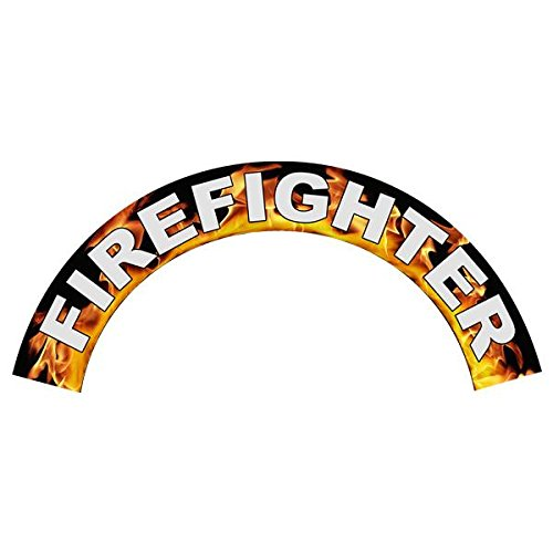 IMPORTANT NOTE: This decal is not for Petzl Helmets. - Firefighter in Flames - Reflective Standard Helmet Crescent Decals