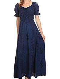 Sakkas Ashlay Adjustable Long Paneled Ruffled Cap Sleeve Scoop Neck Batik Dress