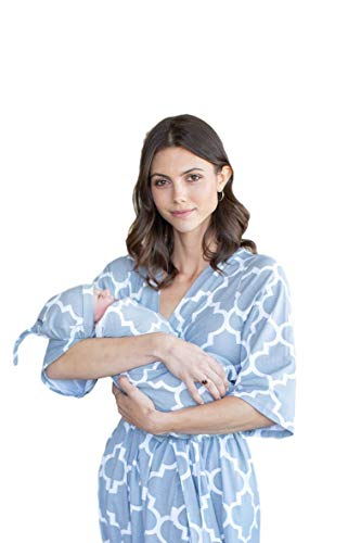 Matching Maternity/Delivery Robe with Baby Swaddle Set, Mom and Baby (Phoebe, S/M pre Pregnancy 2-10)