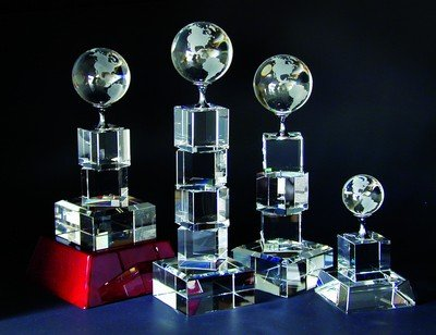 Crystal Globe Cubed Tower Crystal Award - Large ()