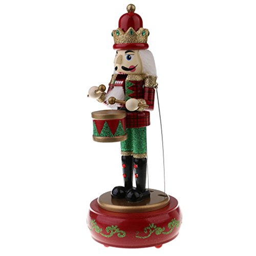 MonkeyJack 30CM Hand Painted Wood Wind Up Drummer Nutcracker Figure Musical Box Toy Xmas Decor Gifts Home Yard Ornament - Red