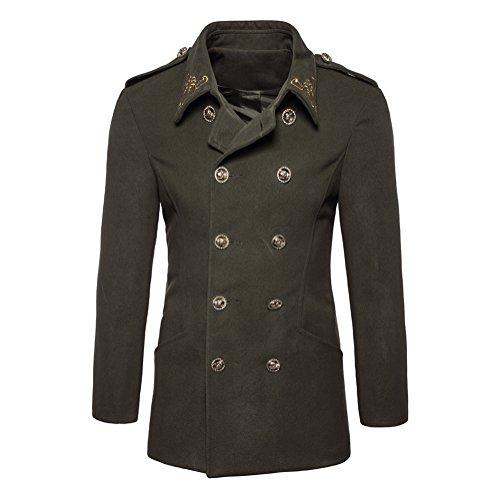 Invierno Blusa Botón de Verde Doble Hombres suéter Coat Ejercito Otoño fila 5Iq8xwR1