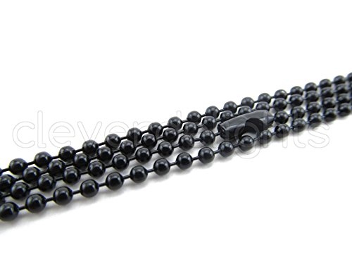 20 CleverDelights Ball Chain Necklaces - Dark Black Color - 24 Inch - Jewelry Findings - 2.4mm Ball - Adjustable Antiqued Vintage Style Necklaces - 24