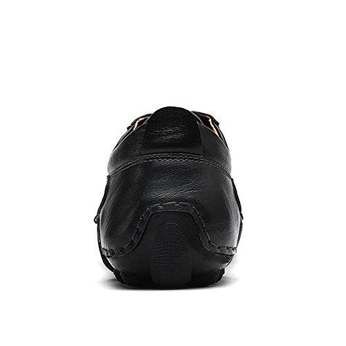 Lakerom Hommes Mocassins Chaussures Pour Hommes Glisser Sur Des Chaussures En Cuir Casual Chaussures Noir39
