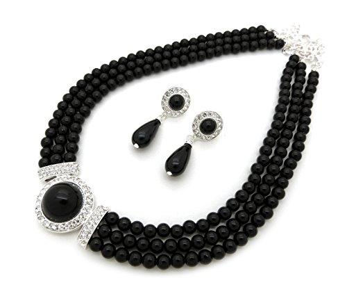 Women's 3 Rows Rhinestone Trimmed Simulated Pearl Statement Necklace and Earrings Set (Black) - Blue Pearl Costume Jewelry