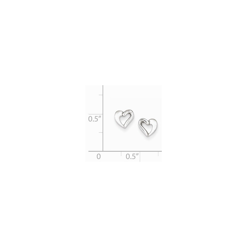 Sterling Silver Rhodium Plated Open Heart Post Earrings Length 6mm