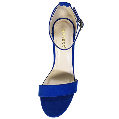 With Band Sandal Blue Strap Suede Sapphire Faux Ankle Chunky Heel BAMBOO Single Women's nqYxgCg