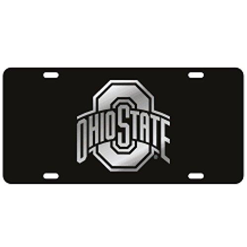 Ohio State Mirror Black Laser Cut License Plate - Mirror Logo