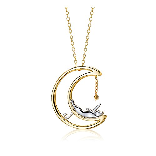 Meow Star Sterling Silver Moon Cat Necklace Cat Pendant Charm Necklaces for Women 14K Gold Necklace for Teen Girls (Glossy)