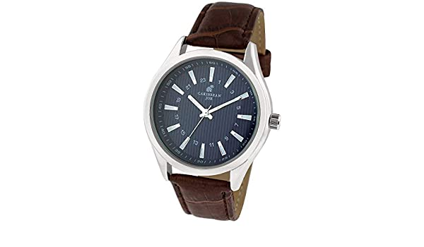 Amazon.com: Caribbean Joe Brown Strap With Silver Case And Navy Blue Dial Watch: Watches