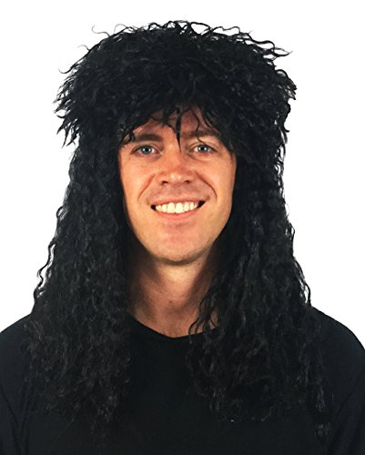 Black 80s Rocker Wig: 80's Rockstar Wig Costume 80s Wig for Men 80's Rocker Wig Costume Mens 80s Wigs Hairband Wig Party Wig Men's Rock Wig Slash 80s Halloween Wig (Rock Star Black 80s Wig) for $<!--$19.95-->