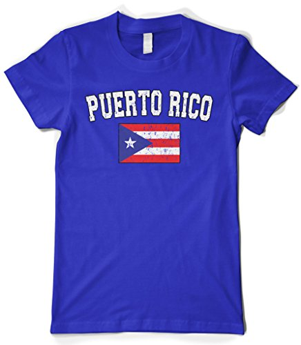 fan products of Cybertela Women's Faded Distressed Puerto Rico Flag T-Shirt (Royal, Small)