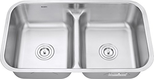 Ruvati 32-inch Low-Divide 50/50 Double Bowl Undermount 16 Gauge Stainless Steel Kitchen Sink – RVM4350