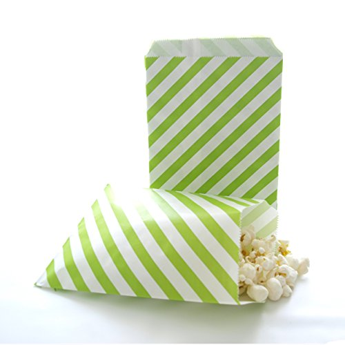 Christmas Tree Green Bags, Treat Collection Snack Packs, Kids' Birthday Party Favor Ideas, Goody Bags, Green Stripe Bags (25 Pack) (Halloween Food Party Ideas Snacks)
