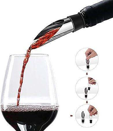 Abridor De Vino Pack 3 Unidades Esenciales | 1 Sacacorchos Vino y 2 Accesorios Vino Boquilla y Tapón Aluminio
