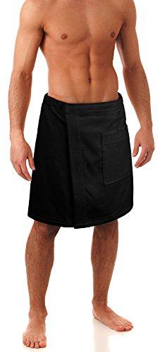 Turkuoise Men's 100% Cotton Terry Velour Bath Towel Wrap Made In Turkey (Black)