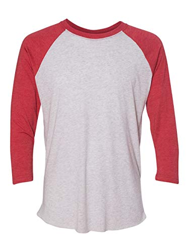 Baseball Tee Shirt - Next Level Apparel 6051 Unisex Tri-Blend 3 by 4 Sleeve Raglan - Vintage Red & Heather White44; Large