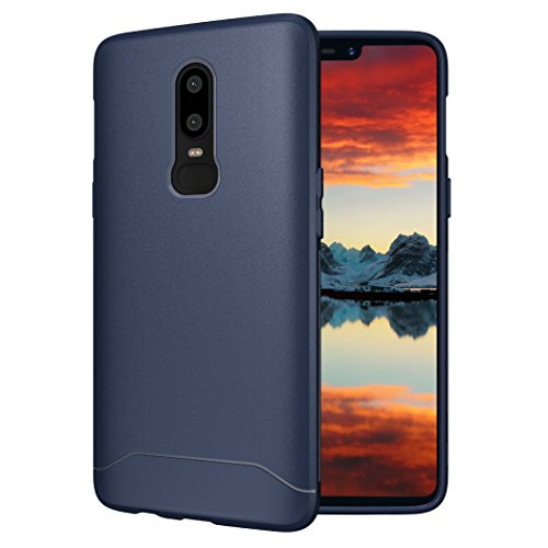 OnePlus 6 Case, TUDIA [ARCH S Series] Slim-Fit HEAVY DUTY Drop-Proof Lightweight Flexible Soft TPU Protective Shock Absorption Minimal Design Polyurethane Phone Case for OnePlus 6 (Navy Blue) (Mobile Case Oneplus)