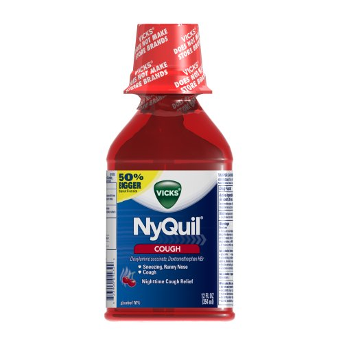 Cough Liquid - Vicks Nyquil Cough Nighttime Relief Cherry Flavor Liquid 12 Fl Oz