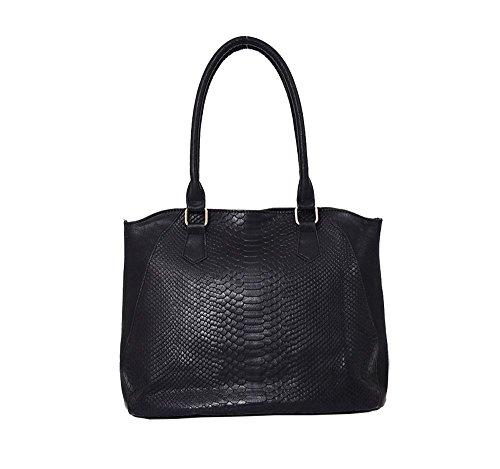 Hautefordiva , Damen Tote-Tasche rotbraun L schwarz
