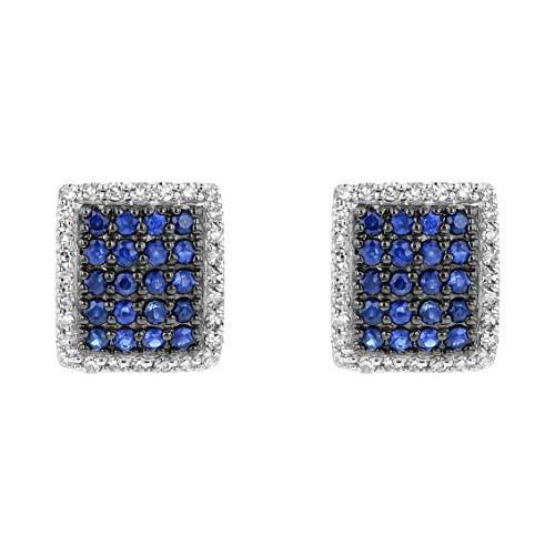 Olivia Paris 14k White Gold Blue Sapphire and Diamond Rectangular Stud Earrings (0.15 cttw, H-I, I1)