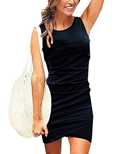 (Gyozelem Women Dresses Summer Casual Ruched Sleeveless Asymmetrical Bodycon Mini Dress Large Black)