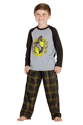 HARRY POTTER Boys' Raglan Shirt and Plaid Pajama Pants Set- All 4 Houses (Small / 6-7, Hufflepuff Black/Yellow) ()