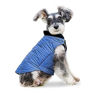 Wooce Ropa para Perros Chaqueta de Mascota Cómoda Ropa de Invierno Adecuado para Perros pequeños Grande medianos-AzulM