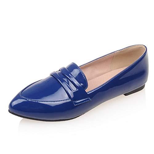 Seraph Scuola Scarpe Blue Ha Brevetto Ladies Appartamenti C 7 Donne Ballerine Puntato Mocassini xaxwrg1q
