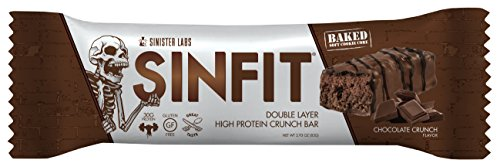 SINFIT Double Layer High Protein Crunch Bar by Sinister Labs - 30 g protein! Gluten-free - (2.93 oz bars) (Chocolate Crunch, (Caramel Double Chocolate Crunch Bars)