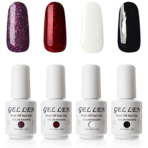 Gellen Gel Polish 4 Colors Set - Classic Black Pure White Sparkle Purple Flame Red, Gel Manicure Set