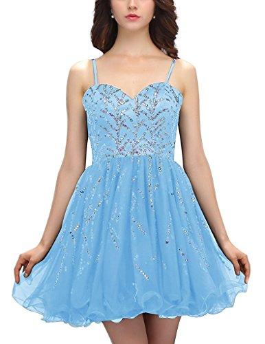 JYDress - Vestido - trapecio - Sin mangas - para mujer azul azul 46