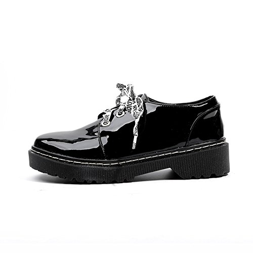 Shoes T Shoes Wedge Black Glossy Women's JULY Round Lace Performance Modern Toe Low up Oxfords IppOxqgwr