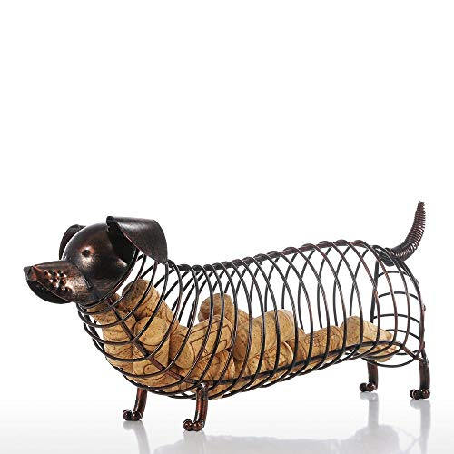 DAJIADS Figurine Figurines Statue Statues Statuette Metal Pig Shaped Dachshund Wine Cork Pot Container Iron Craft Animal Ornament Gift Brown 13.8 4.7 5.9Inches Kitchen