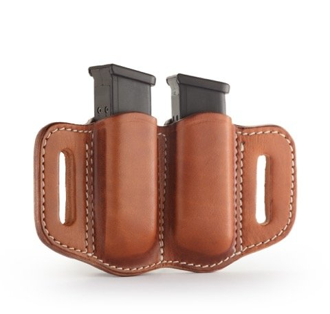 Pouch Double Stack - 1791 GUNLEATHER 2.2 Mag Holster - Double Mag Pouch for Double Stack Mags, OWB Magazine Pouch for Belts - Classic Brown
