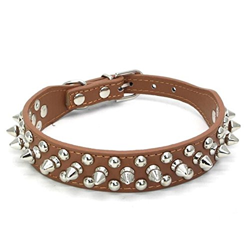 Avenpets Gorgeous Design Leather Dog Collar with Spikes and Studs for Daily Activities,Brown,XS:(neck 8-10.6