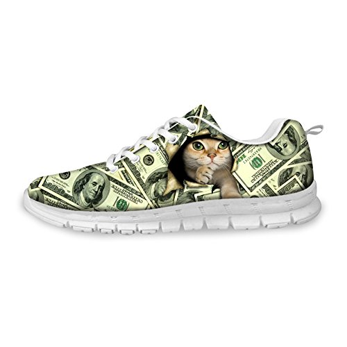 Bigcardesigns Money Design Lovely Cat Womens Running Shoes Lace Up Sneakers Cat4 7jMed