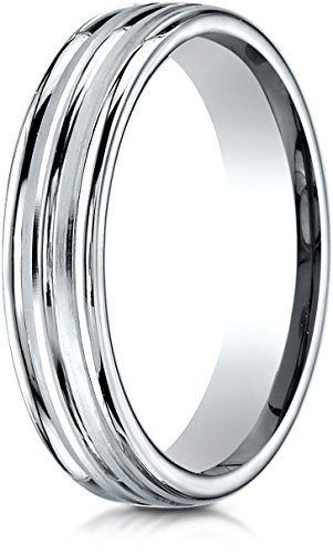 Benchmark 14K White Gold 4mm Comfort-Fit Satin-Finished and Round Edge Carved Design Wedding Band, Sz 8.25