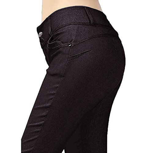 hibote Damen Slim Fitness Hip Push Up Pants Sexy Elastic Woven Cloth Bleistift Pant schwarz L