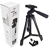 MobSpy 3120 Portable and Foldable Camera - Tripod with Mobile Clip Holder Bracket, Stand with 3-Dimensional Headand Quick Release Plate for Canon Nikon Sony Cameras Camcorders 150 gm (Black)