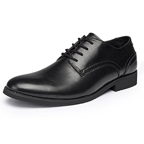Black Mens Oxford (GOLAIMAN Men's Oxford Dress Shoes Genuine Leather Formal Shoes Classic Modern Lace Up Oxfords (Black 9.5))