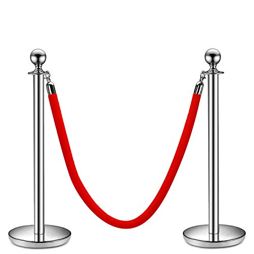 Flexzion Stanchion with Red Velvet Rope Stainless Steel Set of 2 Posts - Ball Round Top Crowd Control Queue Pole Barrier Ideal for Indoor Outside Theaters Museums Bank Hotel Trade Decoration (Silver) ()