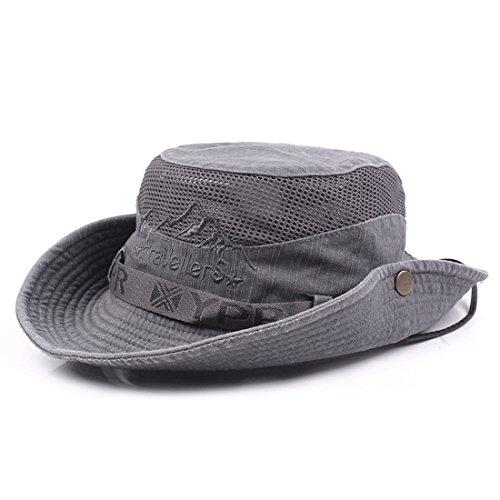 KeepSa Sun Hat for Men, Cotton Embroidery Summer Outdoor Sun Protection Wide Brim Bucket Hat Foldable Safari Boonie Hat Grey